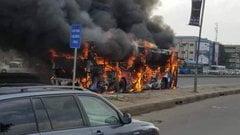 BRT Bus Bursts Into Flames In Lagos