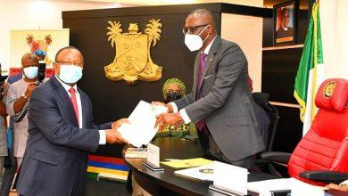 Sanwo-Olu and Sir David Olabanji Sunmoni, as the new Pro-chancellor for LASU